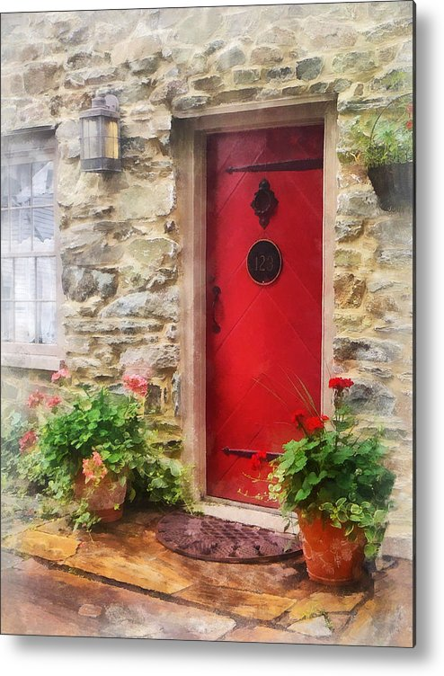 Door Metal Print featuring the photograph Geraniums By Red Door by Susan Savad