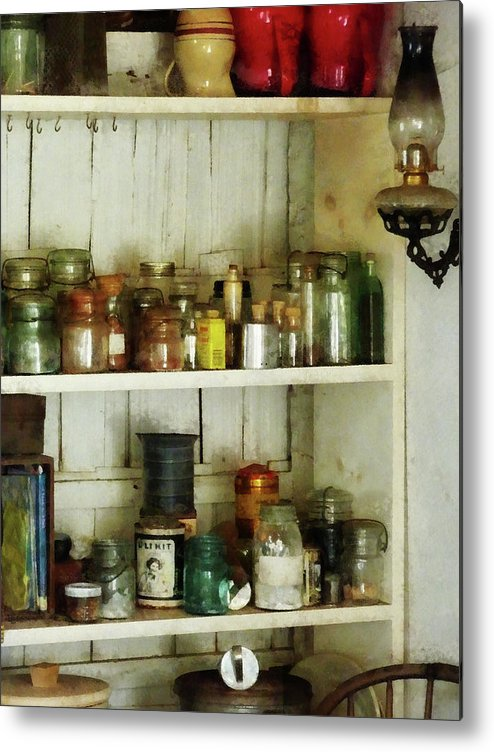 Pantry Metal Print featuring the photograph Hurricane Lamp In Pantry by Susan Savad