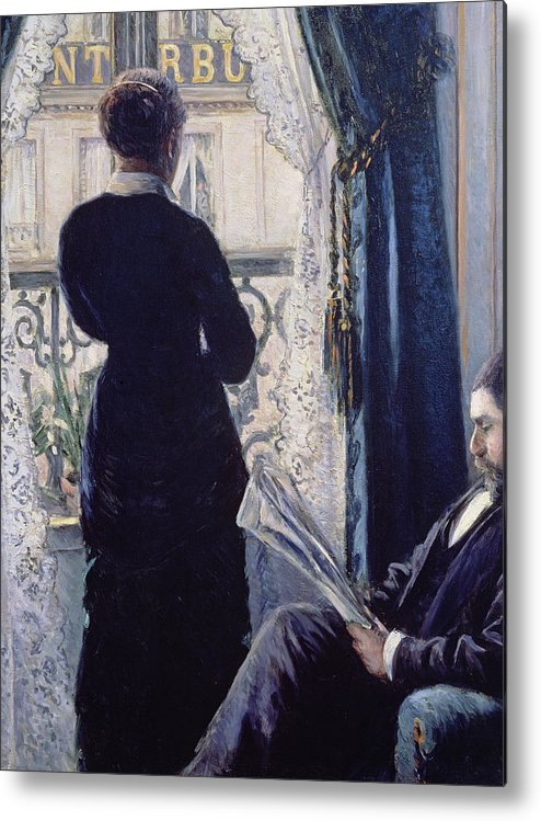 Female; Male; Seated; Reading; Newspaper; Lace Curtains; Parisian; Balcony; Staring; Domestic Scene; Daily Life; Bourgeoisie; Bourgeois; Boredom; Waiting; View Across A Balcony Metal Print featuring the painting Interior Woman At The Window by Gustave Caillebotte