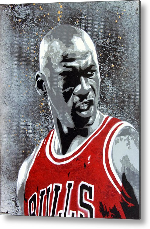 Michael Jordan Metal Print featuring the painting Jordan by Bobby Zeik