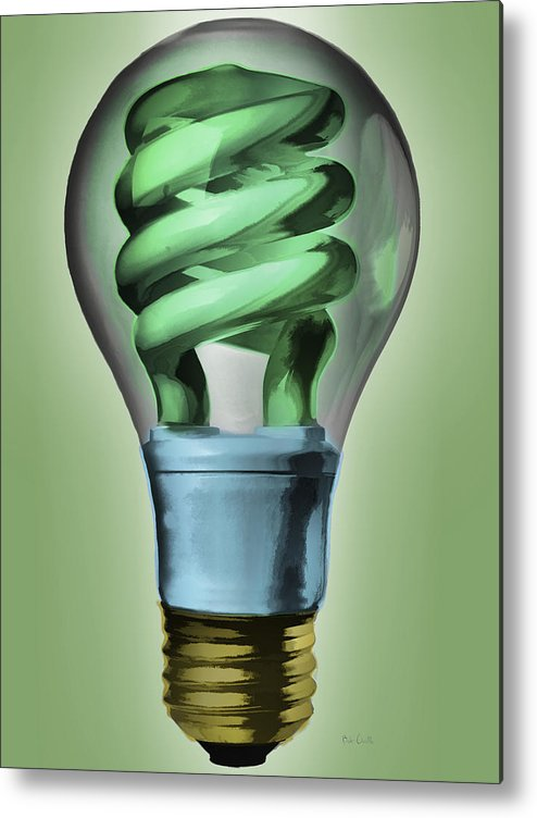 Light Metal Print featuring the painting Light Bulb by Bob Orsillo
