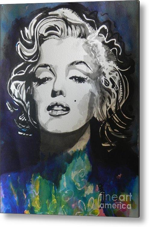 Watercolor Painting Metal Print featuring the painting Marilyn Monroe..2 by Chrisann Ellis