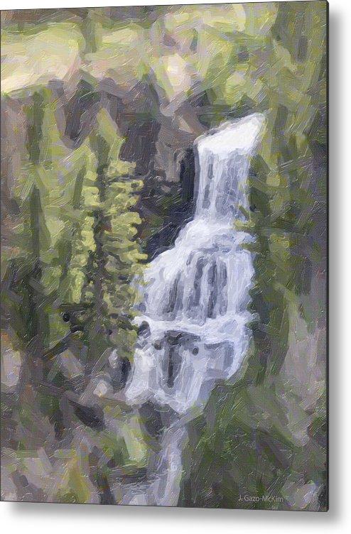 Falls Metal Print featuring the digital art Misty Falls by Jo-Anne Gazo-McKim