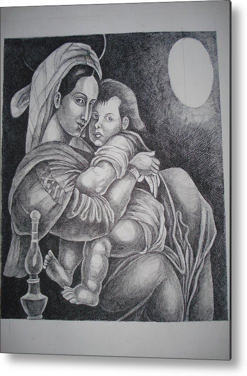 Mother Metal Print featuring the painting Mother With Her Baby by Prasenjit Dhar