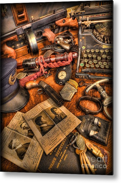 Police Metal Print featuring the photograph Police Officer- The Detective's Desk II by Lee Dos Santos