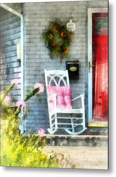 Rocking Chair Metal Print featuring the photograph Rocking Chair With Pink Pillow by Susan Savad