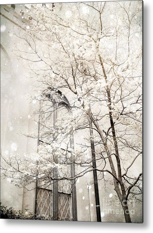 Nature Photography Metal Print featuring the photograph Surreal Dreamy Winter White Church Trees by Kathy Fornal