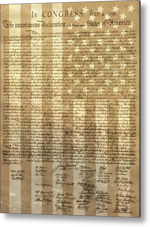 Declaration Of Independence Metal Print featuring the mixed media United States Declaration Of Independence by Dan Sproul