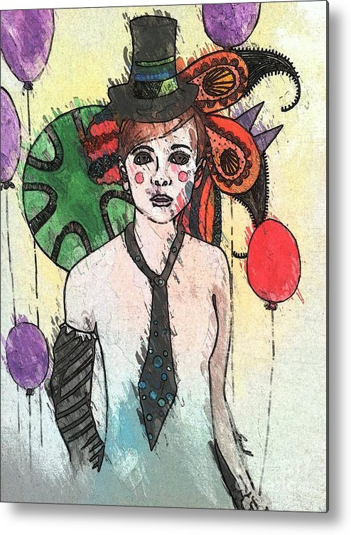 Clown Metal Print featuring the painting Water Clown by Amy Sorrell