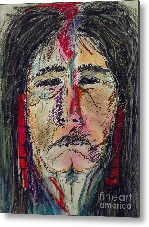 Native American Portrait Of One Of My Spirit Guides Metal Print featuring the mixed media Ancient One by Nashoba Szabol