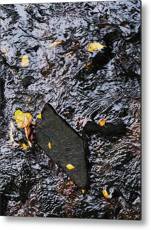 Black Rock Yellow Leaves Water Metal Print featuring the photograph Black Rock At Graue Mill by Todd Sherlock