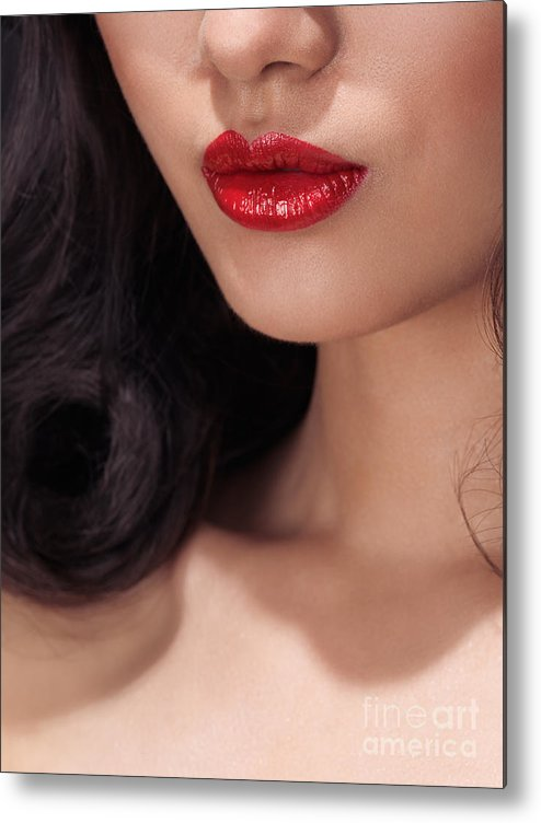 Lips Metal Print featuring the photograph Closeup Of Woman Red Lips by Oleksiy Maksymenko