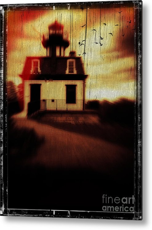 Halloween Metal Print featuring the photograph Haunted Lighthouse by Edward Fielding
