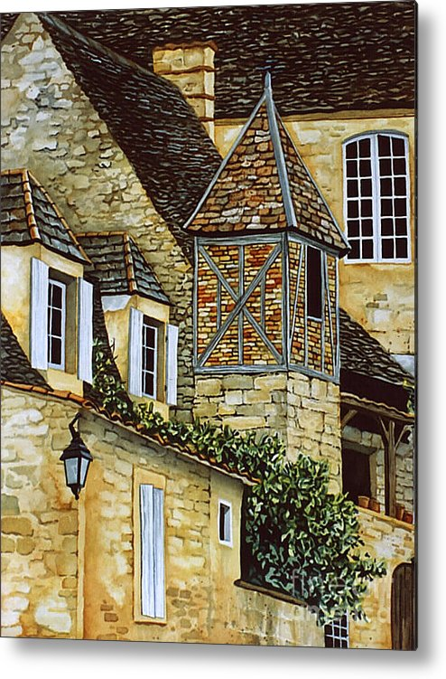 Sarlat Metal Print featuring the painting Houses In Sarlat by Scott Nelson