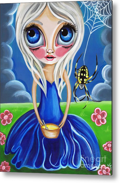 Little Metal Print featuring the painting Little Miss Muffet by Jaz Higgins
