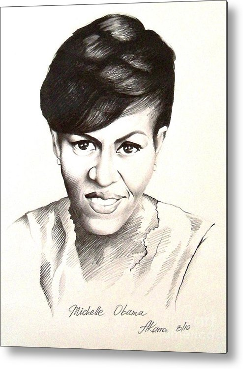 Portrait Metal Print featuring the painting Michelle Obama by A Karron