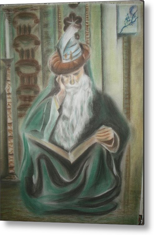 Omar Khayyam Metal Print featuring the pastel Omar Khayyam by Prasenjit Dhar