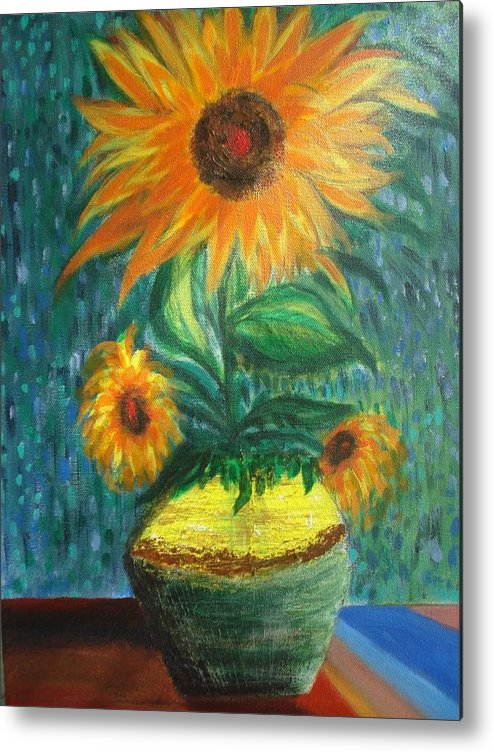 Vase Metal Print featuring the painting Sunflower In A Vase by Prasenjit Dhar