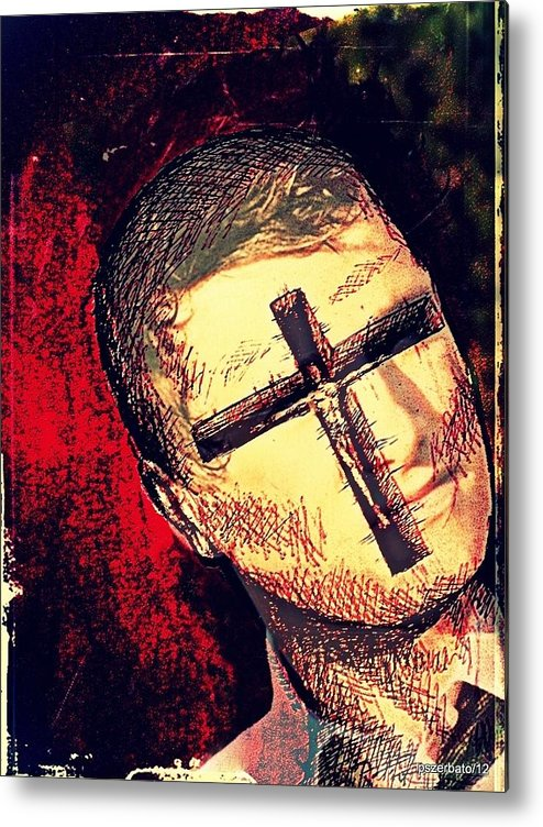 Restlessness Of The Soul Metal Print featuring the digital art The Face Is Sowing Fertile Shadow Of The Cross by Paulo Zerbato