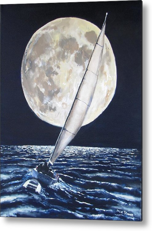 Sailboat Ocean Metal Print featuring the painting Under Full Sail..under Full Moon by Jack Skinner