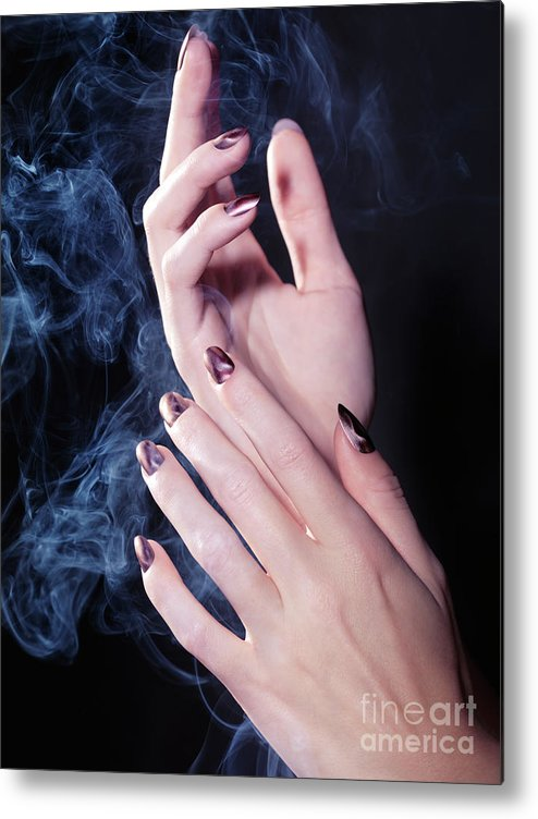 Hands Metal Print featuring the photograph Woman Hands In A Cloud Of Smoke by Oleksiy Maksymenko