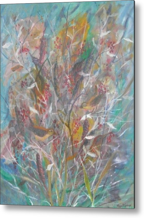 Birds Metal Print featuring the painting Birds In A Bush by Ben Kiger