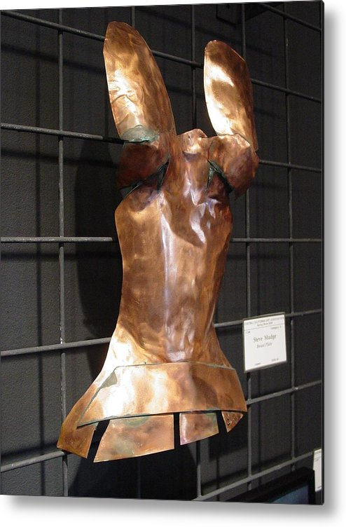 Breastplate Metal Print featuring the sculpture Copper Breast Plate by Steve Mudge