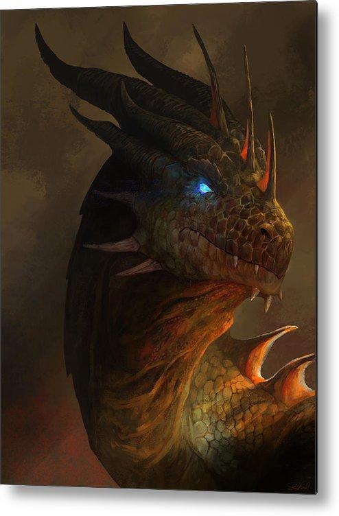 Dragon Art Metal Print featuring the mixed media Dragon Portrait by Steve Goad
