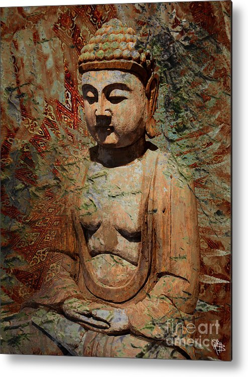 Buddha Metal Print featuring the painting Evening Meditation by Christopher Beikmann