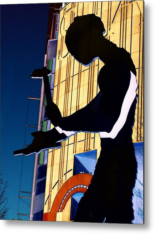 Seattle Metal Print featuring the digital art Hammering Man by Tim Allen