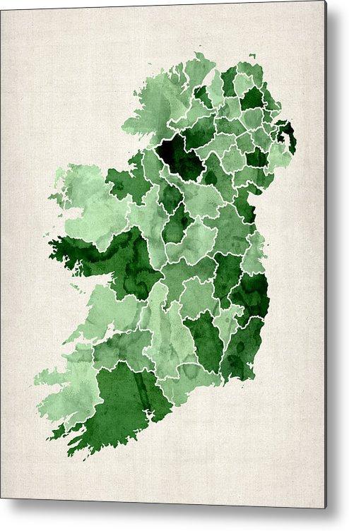 Ireland Map Metal Print featuring the digital art Ireland Watercolor Map by Michael Tompsett