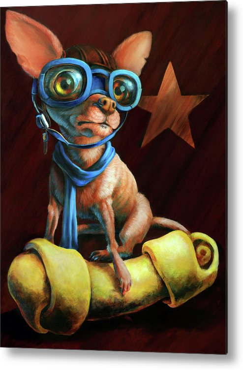 Chihuahua Metal Print featuring the painting I've Got Mine by Vanessa Bates