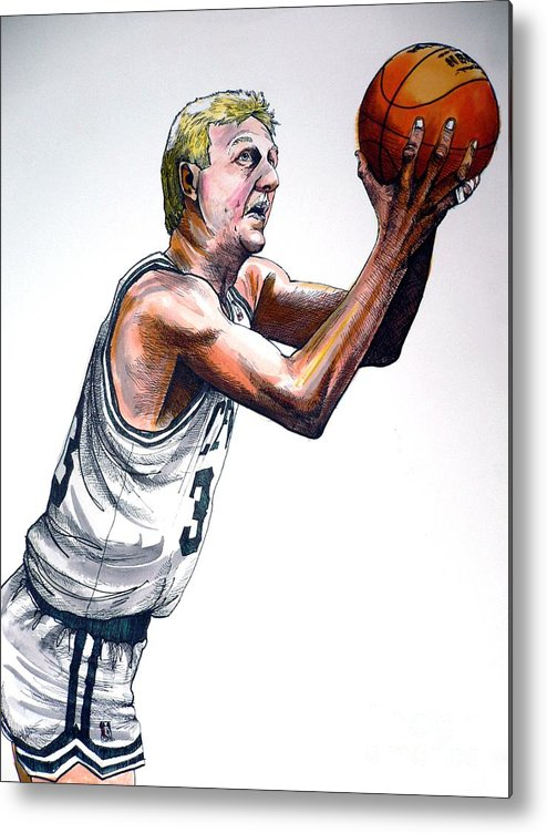 Larry Bird Metal Print featuring the painting Larry Bird by Dave Olsen