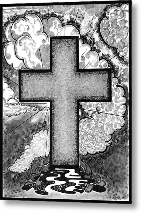 Christian Metal Print featuring the drawing Nothing But The Blood by Glenn McCarthy Art and Photography