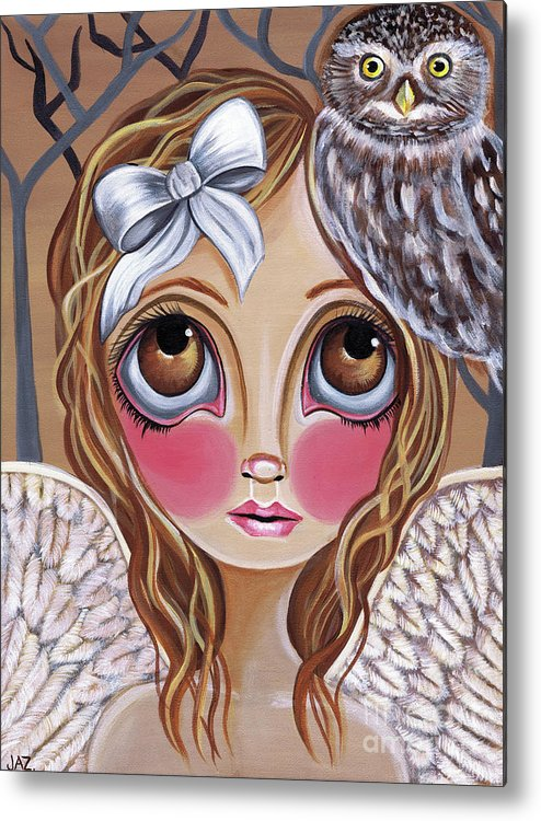 Owl Metal Print featuring the painting Owl Angel by Jaz Higgins