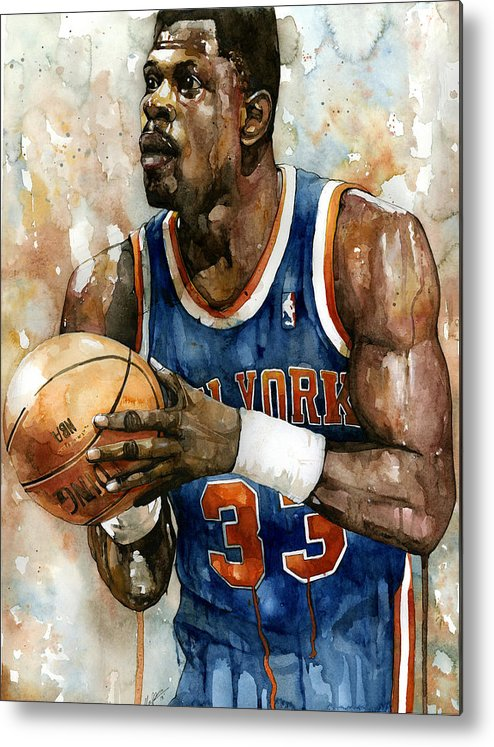 Patrick Ewing Metal Print featuring the painting Patrick Ewing by Michael Pattison