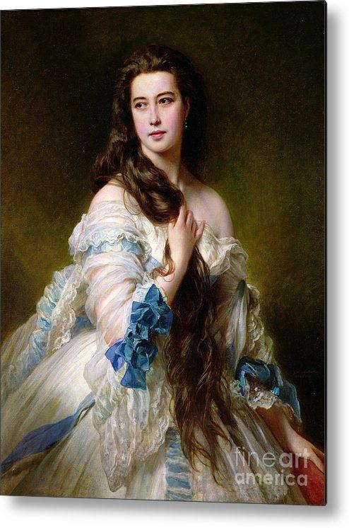 Portrait Metal Print featuring the painting Portrait Of Madame Rimsky Korsakov by Franz Xaver Winterhalter