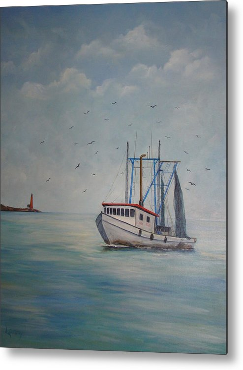 Shrimp Boat Metal Print featuring the painting Shrimp Boat by Carolyn Speer
