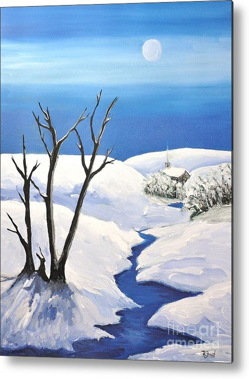 Snowy Scene Metal Print featuring the painting Snowy Scene by Reb Frost