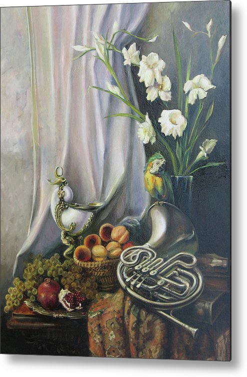 Armenian Metal Print featuring the painting Still-life With The French Horn by Tigran Ghulyan