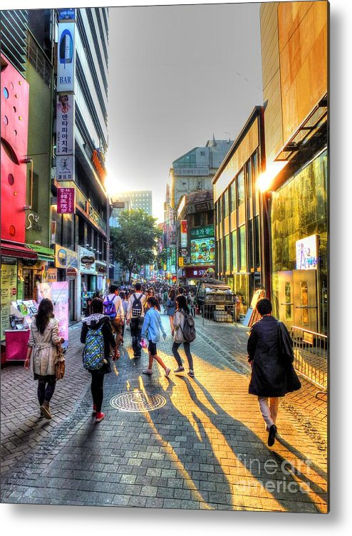 Seoul Metal Print featuring the photograph Sunset On The Streets Of Seoul by Michael Garyet