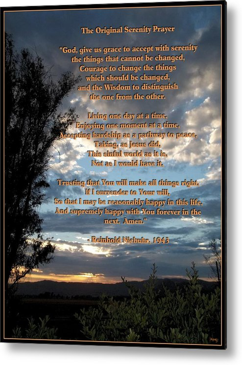 Mccarthy Art Metal Print featuring the photograph The Original Serenity Prayer by Glenn McCarthy Art and Photography