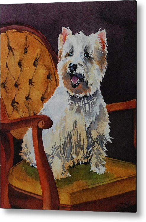 Westie Metal Print featuring the painting Westie Angel Dusty by Donna Pierce-Clark