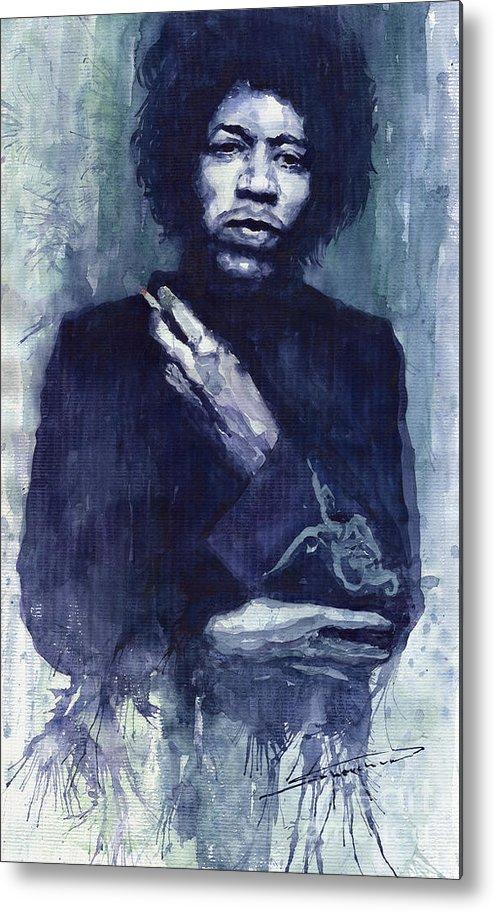 Watercolour Metal Print featuring the painting Jimi Hendrix 01 by Yuriy Shevchuk