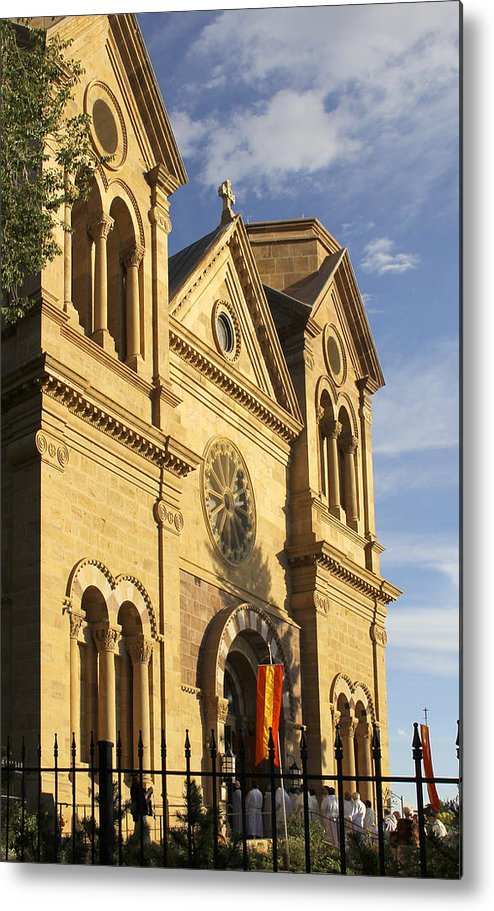 St. Francis Cathedral Metal Print featuring the photograph St. Francis Cathedral - Santa Fe by Mike McGlothlen