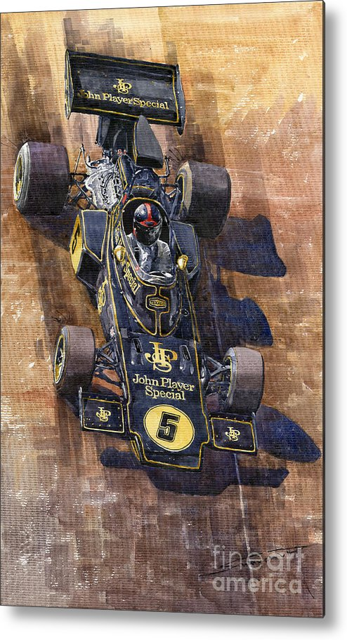 Watercolour Metal Print featuring the painting Lotus 72 Canadian Gp 1972 Emerson Fittipaldi by Yuriy Shevchuk