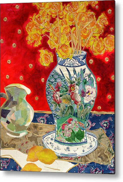 Flowers In A Vase Metal Print featuring the mixed media Chinoiserie by Diane Fine