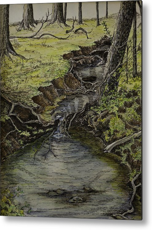 Creek Metal Print featuring the painting Creek by Janet Felts