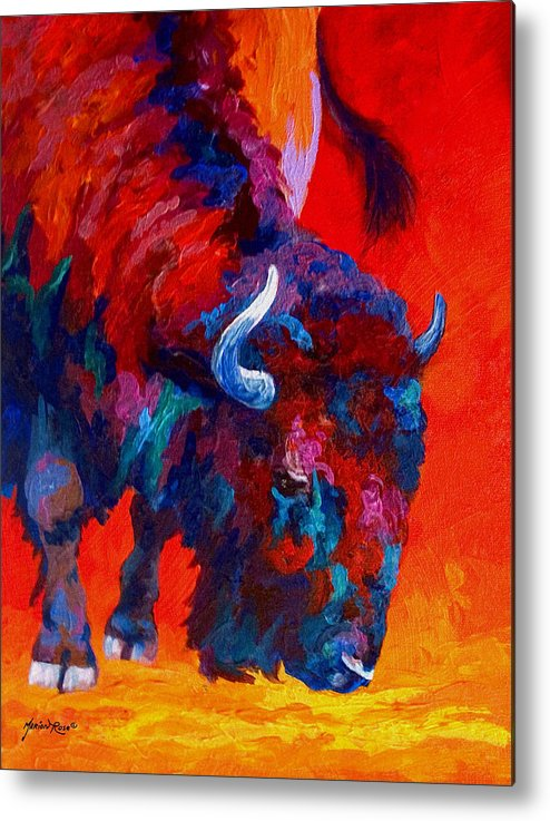 Bison Metal Print featuring the painting Grazing Bison by Marion Rose