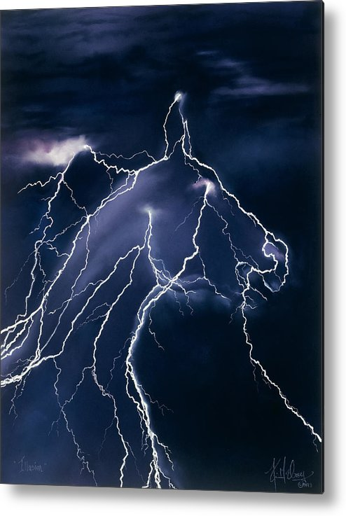 Horse Lightning Metal Print featuring the pastel Illusion by Kim McElroy